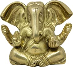 Shalinindia Seated Long Ear Lord Ganesh Statue Puja at Home Or While Traveling - Brass Ganesha Idol for Car