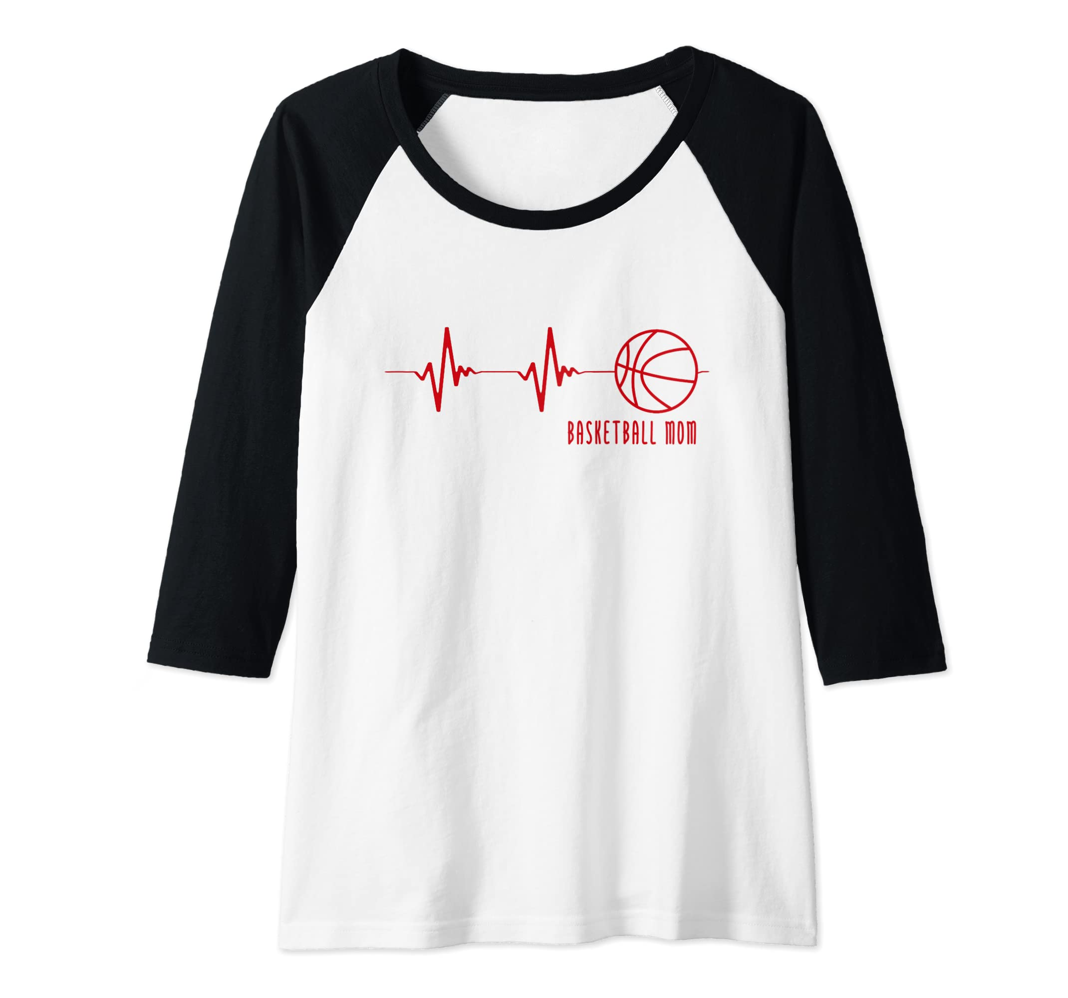 fc427efee40 Amazon.com: Basketball Mom Heartbeat Raglan Baseball Tee: Clothing