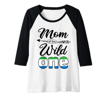 881d5478 Image Unavailable. Image not available for. Color: Womens Sierra Leonean Mom  of the Wild One Birthday Sierra Leone Raglan Baseball Tee