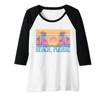 cf667daaec Amazon.com: Womens Beach Please Funny Retro Summer Island Vacation Gift  Idea Raglan Baseball Tee: Clothing