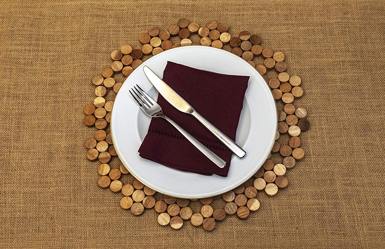 Divine Home Exotic Wood Carson Rose Placemat 14 5 By 14 5 Eco Friendly And Handmade Natural Color Place Mats For Indoor And Outdoor Table Tops Set Of 2