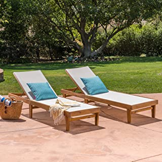 Christopher Knight Home 304497 Shiny Outdoor Wood Chaise Lounge (Set of 2), White Mesh and Teak, Finish