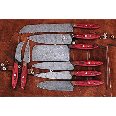 Professional Handmade Kitchen//Chef/'s Knives Set Damascus Steel with leather case