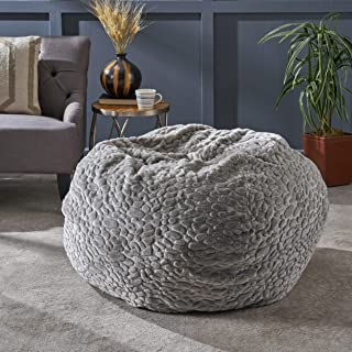 Christopher Knight Home 304247 Laraine Furry Glam Grey Pebble Pattern Faux Fur 3 Ft. Bean Bag
