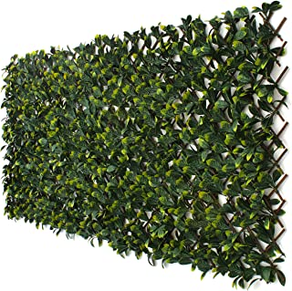 3rd Street Inn Laurel Leaf Trellis 1-Pack - Bamboo Greenery Panel - Boxwood and Ivy Privacy Fence Substitute - DIY Flexible Fencing (Laurel)