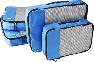 AmazonBasics Packing Cubes/Travel Pouch/Travel Organizer - 2 Medium and 2 Large, Blue (4-Piece Set)