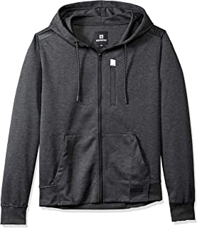 Southpole Men's Fleece Zip Sweater, Heather Charcoal Basic Tech, Medium