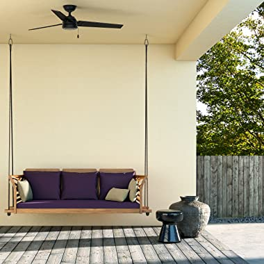 """Hunter Cassius Indoor / Outdoor Ceiling Fan with Pull Chain Control, 52"""", Matte Black"""
