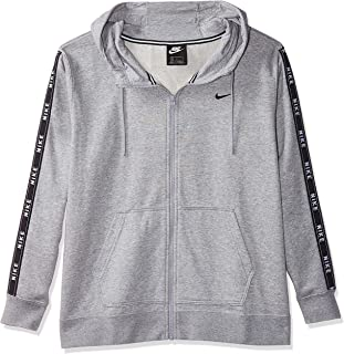 Nike Women's FZ LOGO TAPE Hoodies, Grey Size Large (NKAR3056)