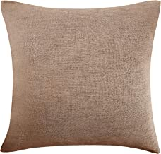 Deconovo Throw Pillow Covers Faux Linen Soft Chair Cushion Cover for Bedroom 18 x 18 Inch Khaki 1 Piece No Pillow Insert