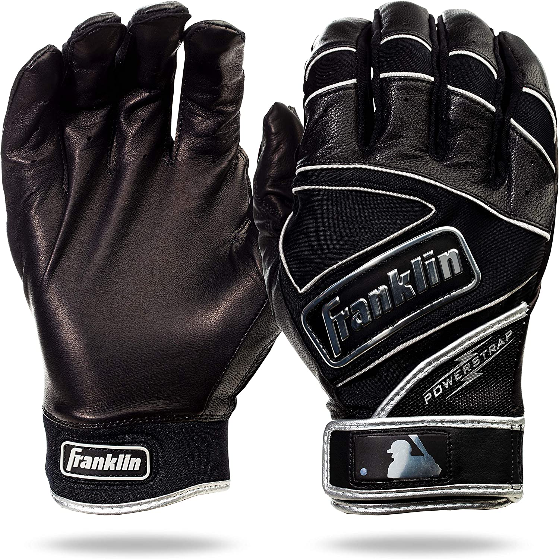 Franklin Sports Chrome Powerstrap Batting Gloves - Black - Adult