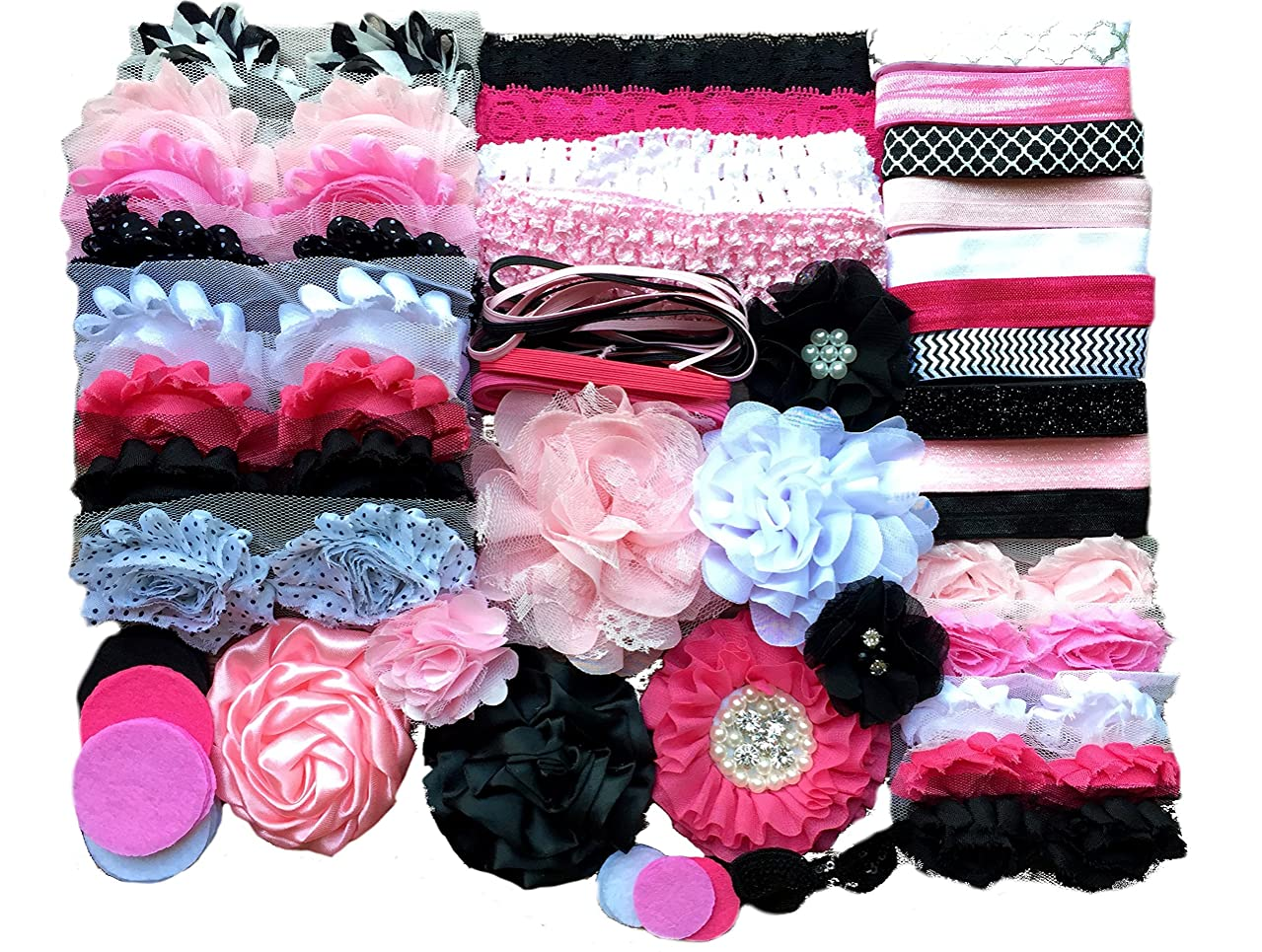 Bowtique Emilee Baby Shower Headband Kit DIY Headband Kit Makes Over 30 Headbands - Pink and Black