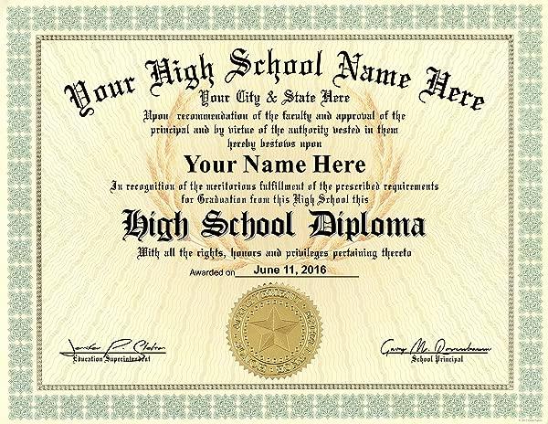 High School Diploma Custom Printed With Your Info Premium Qaulity