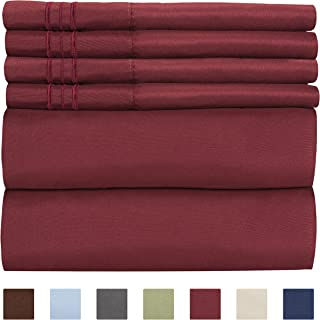 Queen Size Sheet Set - 6 Piece Set - Hotel Luxury Bed Sheets - Extra Soft - Deep Pockets - Easy Fit - Breathable & Cooling Sheets - Wrinkle Free - Comfy - Burgundy Bed Sheets - Queens Sheets - 6 PC