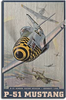 Lantern Press B-25 Bomber Escort Mission - P-51 Mustang (10x15 Wood Wall Sign, Wall Decor Ready to Hang)