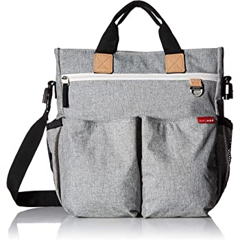 Skip Hop Messenger Diaper Bag with Matching Changing Pad, Duo Signature, Grey Melange