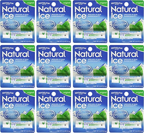 Mentholatum Natural Ice Medicated Lip Protectant Sunscreen, 12 Count