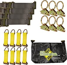 """E-Track TieDown Kit! Four 2"""" x16' Ratchet Straps, Eight TieOffs, SIX O Rings, ONE Etrack Bag. Ideal TieDown Accessories Bundle for Trucks, Warehouses, Docks, Trailers, Boats. E-Track NOT Included."""