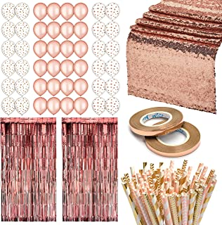 Rose Gold Party Decorations| 153-Piece Rose Gold Party Decor| Includes Rose Gold Balloons (48), Rose Gold Fringe Curtain (2), Rose Gold Table Runner (1), Paper Straws (100), Rose Gold Ribbon (2)