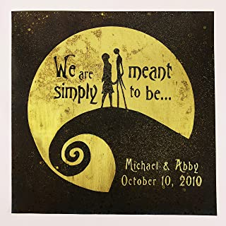 Nightmare Before Christmas Wedding Gift. Anniversary, Personalized, Jack and Sally, Wall Art. Capture Your Special Day in a Unique Way on Brass or Copper. Made for Love with Love