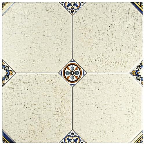 Blue And White Bathroom Floor Tile Amazon Com