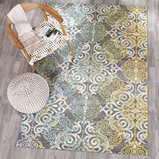 Safavieh Evoke Collection EVK230D Vintage Medallion Damask Grey and Ivory Area Rug (5'1