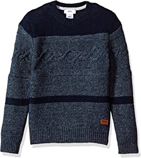 Hugo Boss Boys' Knitted Sweater with Leather Label