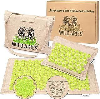 Mata do akupresury z poduszkami i torbą – Wild Aries – mata do masażu ze 100% lnu – bawełna – łuski z włókna kokosowego – ...
