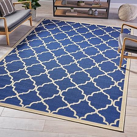 Christopher Knight Home Joe Indoor Geometric 8 X 11 Area Rug Navy Ivory Furniture Decor