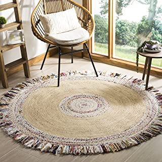 Safavieh Cape Cod Collection Ivory and Light Beige Cotton Round Area Rug, 5' Diameter,