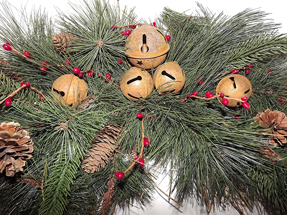 DC&C Artificial Greenery Swag on Twig Base Red Berries, Pine Cones, Rusty Bells By