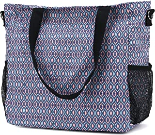 Large Waterproof Beach Tote Shoulder Diaper Gym Travel Bag with Zipper Pockets for Women