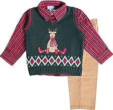 Good Lad Toddler Boys Three Piece Green Reindeer Appliqued Sweater Vest