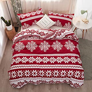 LAMEJOR Duvet Cover Sets Queen Size Christmas Theme Snowflake Pattern Holiday Bedding Set Comforter Cover(1 Duvet Cover+2 Pillowcases) Red
