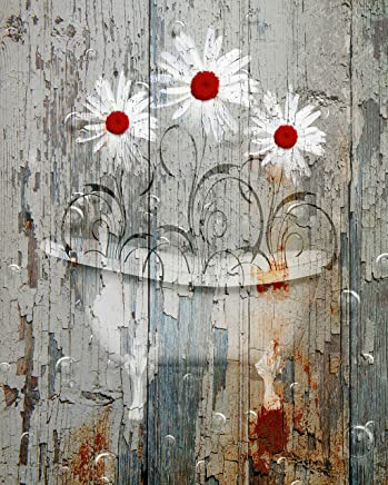 Red Daisy Flowers Rustic Bathroom Farmhouse Country Bathroom Wall Art Matted Picture 8x10 inch with 11x14 inch White Mat