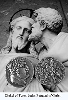 Golden Artifacts Judas' 30 Pieces of Silver, Shekel of Tyros Coin, Jerusalem, Roman Coins, Roman Empire (1 Coin) (87-S)