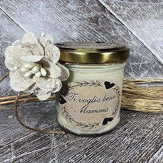 Ti voglio bene Mamma Idea Regalo Vasetto con candela personalizzabile cera di soia oli essenziali stoppino in legno Festa ...