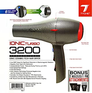 Tyche Turbo 3200 Professional Ionic Ceramic Tech Hair Dryer (1 Year Warranty) Dries Hair..