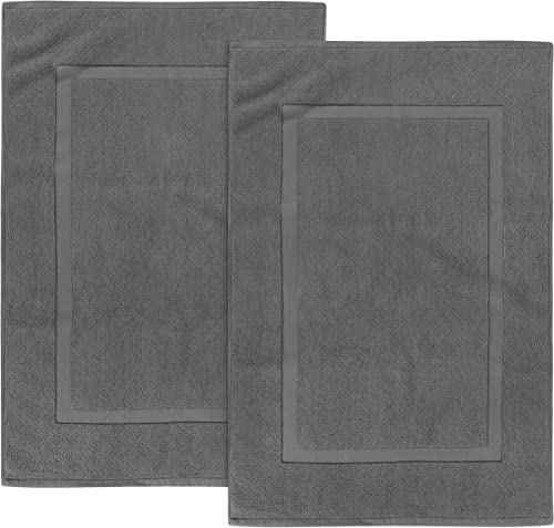 Utopia Towels - Washable Cotton Banded Bath Mat, 2 Pack, Dark Gray product image
