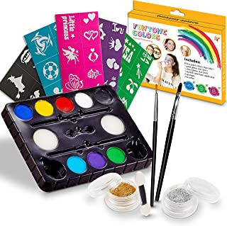 Face painting kits. Free 40 Stencils Included. Use for Body Painting, Birthday, Halloween ,fan Sports or Kids Makeup Parties.Our Face Paint Kit Contain Palette 8 Colors, Glitter,Brushes & Sponges