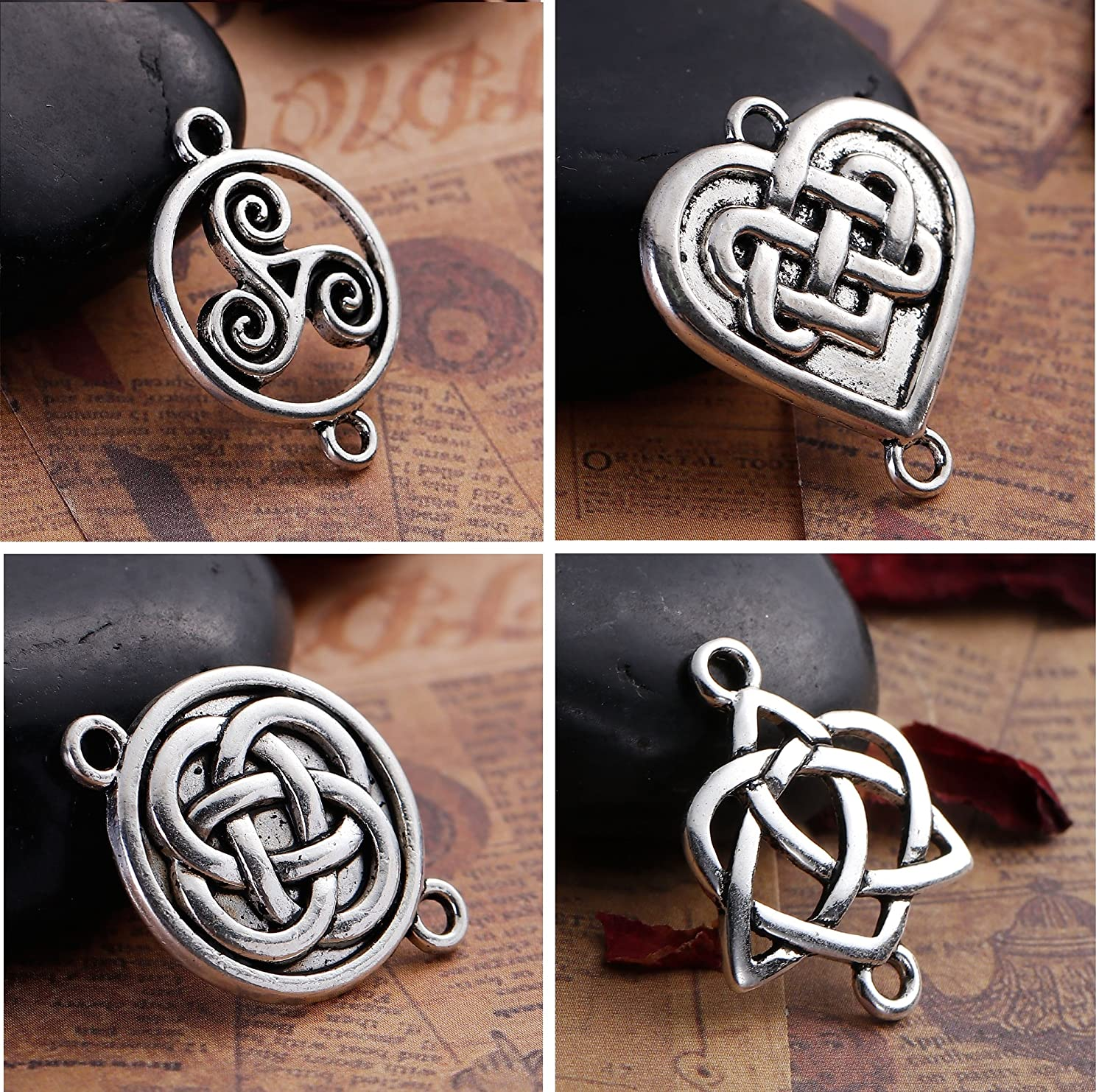 Celtic Knot Connectors, 80 pc (20 of Each) Silver Tone Findings