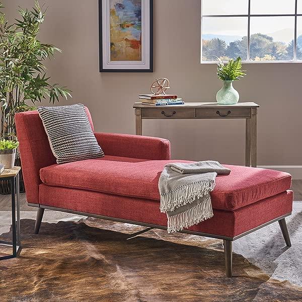 大量家具 304048 索菲亚中世纪现代红色织物躺椅胡桃木