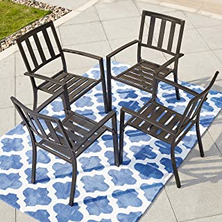 LOKATSE HOME Steel Outdoor Patio Dining Arm Chairs Set of 4 for Garden,Backyard, Kitchen, Balcony, Black