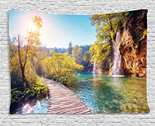 Ambesonne Nature Tapestry, Idyllic Lake with Waterfall Flowing Down The Hills in National Park Autumn Scenery, Wide Wall Hanging for Bedroom Living Room Dorm, 60