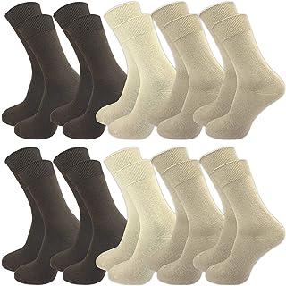 GAWILO Lot de 10 paires de chaussettes 100 % coton pour pieds sensibles - Sans couture - Homme et Femme - Confort veineux