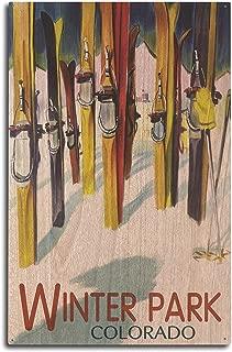 Lantern Press Winter Park, Colorado - Colorful Skis (10x15 Wood Wall Sign, Wall Decor Ready to Hang)