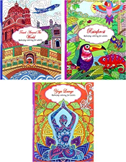 Adult Coloring Book Set: World Travel, Rainforest Designs, and Yoga Lounge (3 Book Set) - Each Book Contains 24 Quality SINGLE Sided THICK TEAR-OUT Pages!