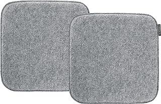Magma-Heimtex Avaro - Cojín para silla (fieltro, 2 unidades, cuadrado, 35 x 35 cm), color gris