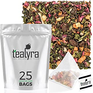 Tealyra - Berry Rose Slenderize - 25 Bags - Diet - Weight Loss - Wellness Healthy Tea - Pu Erh 5 Year Aged - Green Oolong - Loose Leaf Tea Blend - All Natural Ingredients - Pyramids Style Sachets