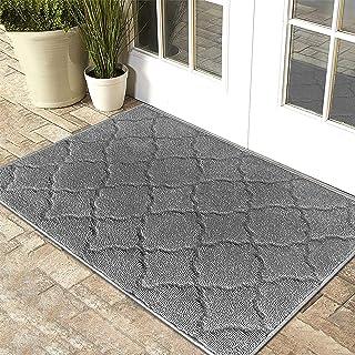 """iOhouze Indoor Outdoor Doormat Grey Trellis, 24"""" x 35"""", Super Absorbent, Non Slip, Low Profile, Machine Washable, Dirt Res..."""
